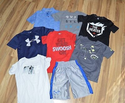 Lot of 8 Shirts & Shorts Boys Sz 7 - 8 Under Armour Nike Adidas Quiksilver