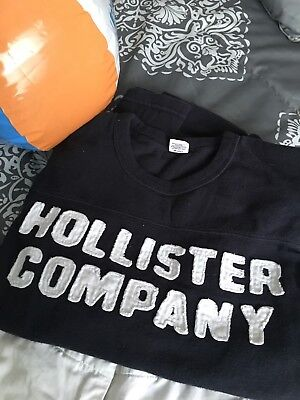 Hollister Company Navy Blue,  cotton, long sleeve, sporty tee, unisex, EUC, MED