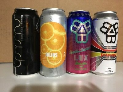 """4 cans Heady Topper Tree house Julius Bissell Brothers Brewing Lux  """"Empty"""""""