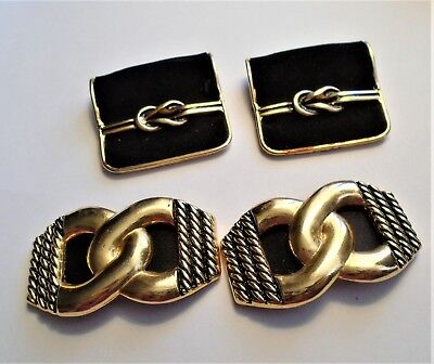 2 Pairs Bluette Shoe Clips- Goldtone And Black