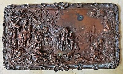 ANTIQUE LATE 19th CENTURY FRENCH BRONZE RELIEF PLAQUE : EUROPEAN HUNTING SCENE