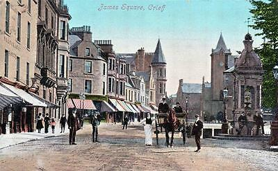 James Square Crieff old postcard used 1910 Valentines