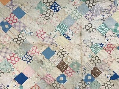 "VTG Quilt Patchwork Farmhouse Antique Cotton Feedsack Tattered Torn 72"" x 70"""