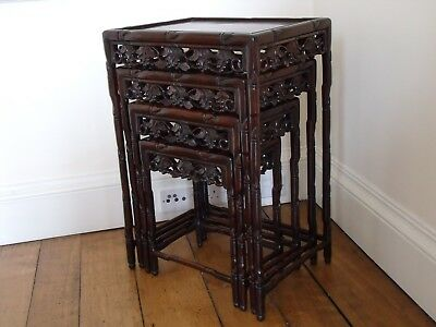CHINESE CARVED DARK HARDWOOD SIDE TABLES (SET of FOUR) circa 1900 ANTIQUE