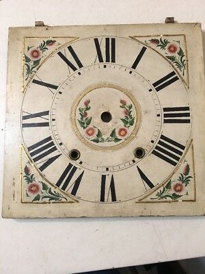 Beautiful Antique Floral Painted Wooden Works Clock Face Dial Folk Art