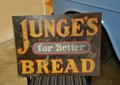 JUNGE'S BREAD two sided metal advertising sign  gas station Coffeyville Joplin