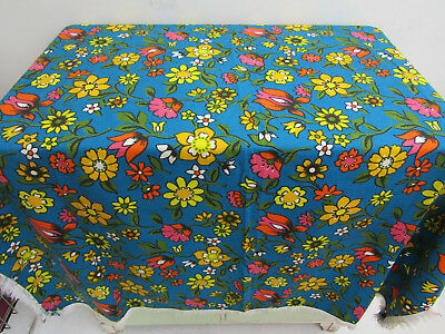 """Vintage 1950s Blue Bold Floral Print Fringed Square Tablecloth 45"""" x 45"""""""
