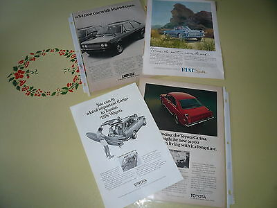 Toyota Fiat Ads Advertising Ads - Lot of 4 Items