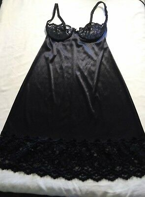 Victoria Secret Vintage Black 34B Slip Lace upper Nylon Bottom