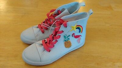 Cat & Jack Girls High Top Sneakers White w/Rainbow Pineapple Flamingo Size 2 NEW