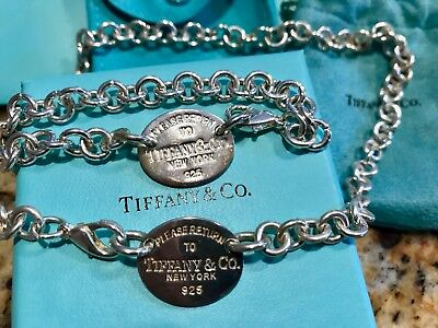 Genuine RETURN TO TIFFANY & CO. Sterling Silver 925 Bracelet AND Necklace/Choker