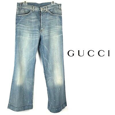 GUCCI Mens Jeans Denim 31 32 X 32 US 48 Distressed Bootcut Bell Bottom Authentic