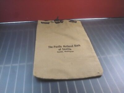 The Pacific National Bank Of Seattle. Vintage Bank cash bag coin bag.