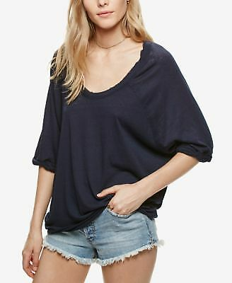 NEW Free People Womens Moonlight Scoop-Neck T-Shirt Top Blouse Ivory MSRP $58.00