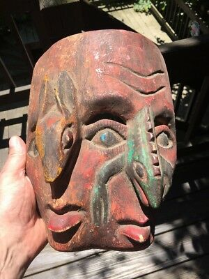 """Vintage Rare Hand Carved Wooden Wall Hanging Tiki Mask-Very Rare 10"""""""