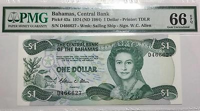 *2nd Finest Known* P-43a 1974 (ND1984) Bahamas 1 Dollar, Central Bank PMG 66 EPQ