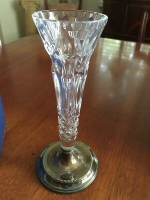 "Vintage Broadway B&Co Silversmiths Sterling Silver Glass Vase, 8-1/4"" Free Ship!"