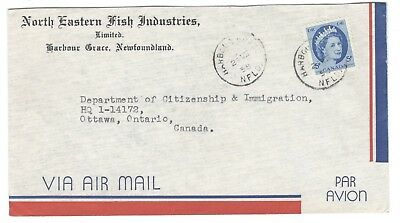 1958 Harbour Grace, Nfld. CDS Cancel North Eastern Fish Industries CC