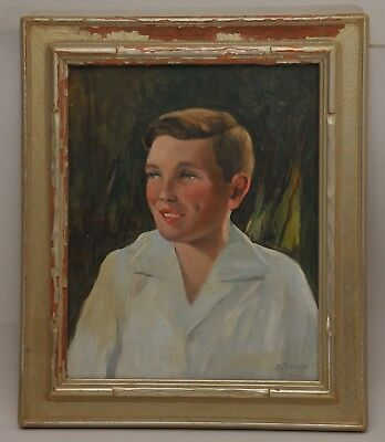 CHARLES P. GRUPPE signed OIL PORTRAIT of YOUNG MAN 1940