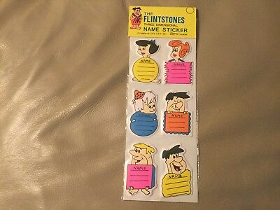 1979 The Flintstones Three Dimensional Name Stickers New Fred Barney Bam Bam