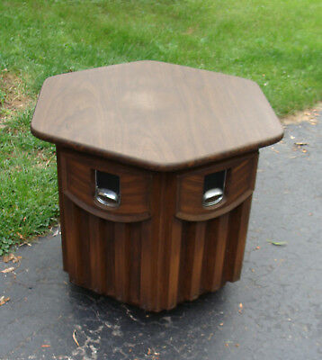 Mid Century Modern Dark Danish Hexagon Six Sided Record Storage Side Table