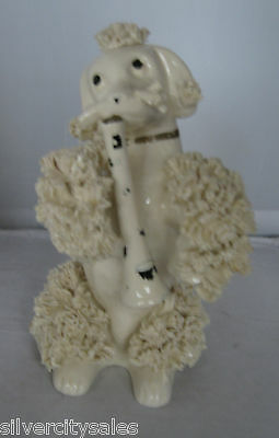 Vintage Ceramic Spaghetti French Poodle White Dog Playing an Instrument Figurine