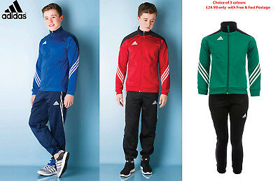 Adidas Kids Boys Football Jogging Top Track suit Bottoms in Red Blue Green 5-16