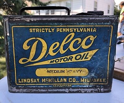 Delco Motor Oil Strictly Pennsylvania 1/2 Gallin Milwaukee Rare Misspelling