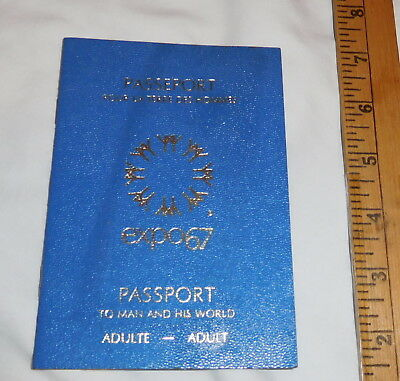 vintage Passport Expo67 world's Fair Adult To man and his World Montreal Canada