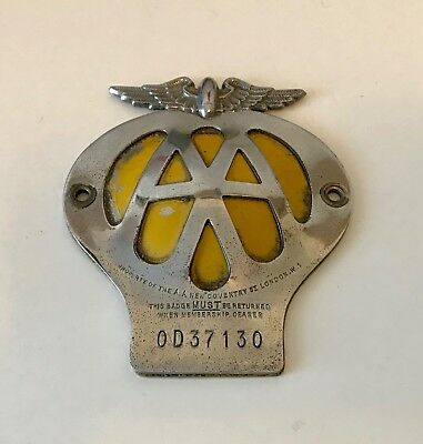 Vintage British AA (Automobile Association) License Plate Topper