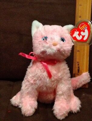 TY Beanie Baby - FLEUR the Pink Cat (6 inch) - MWMTs Stuffed Animal Toy