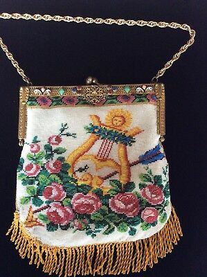 Antique Vintage Micro Beaded Scenic Purse Jeweled Frame