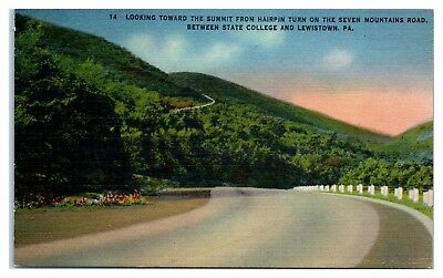 Hairpin Turn on Seven Mountains Road between State College Lewistown PA Postcard