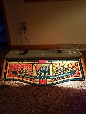 (Vtg) 1980 Old Style Beer Pool Table Light Up Sign Stained Glass Look Game