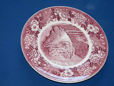 Old Staffordshire Howe Caverns New York Pipe Organ Plate Red Maroon Transferware