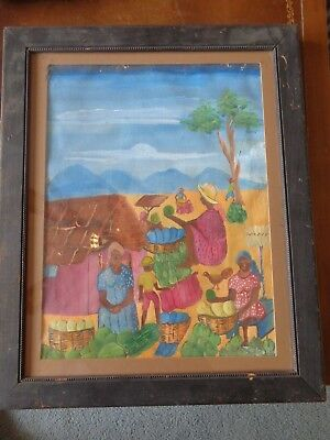 "Vintage original Jamaica on Canvas 12""x16"" Village Painting Matted framed"