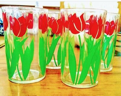 Vintage Swanky Swig Red Tulip Juice Glasses - 4
