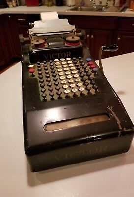 Vtg. Antique 8 Row  VICTOR ADDING MACHINE Collectible calculator Early 1900's