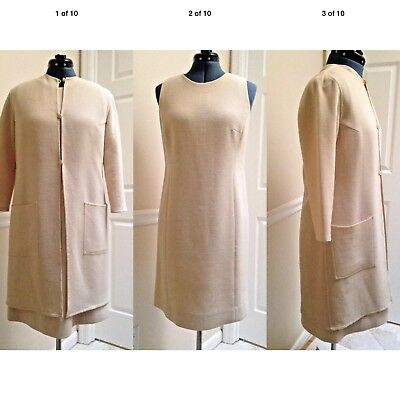 WORTH NWOT! 2 Piece 100% Wool Beige Dress (14) and Dress Coat (10) Both Petite