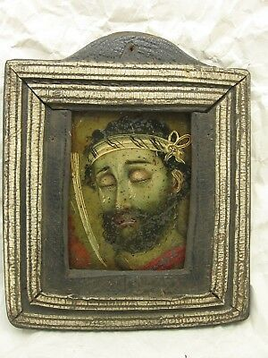 Antique Spanish Colonial John The Baptist Retablo in Leather Frame