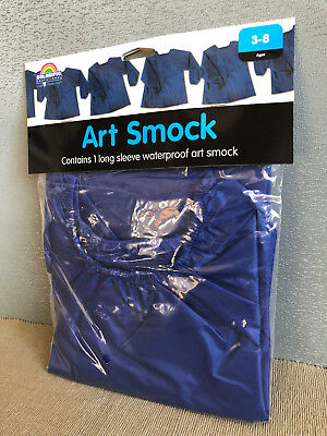 BNWT Boys Royal Blue Long Sleeve Waterproof School Art Smock Age 3 - 8 Years