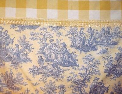 Custom Made Changeable  French Country Blue And  Yellow Checker Board Valance