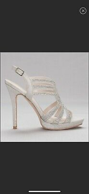 davids bridal shoes, silver