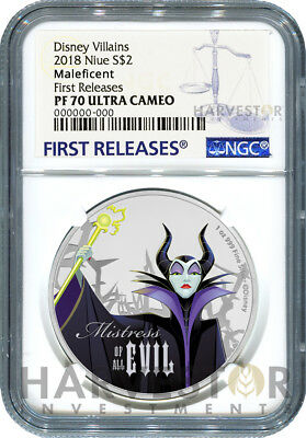 2018 Disney Villains - Maleficent - Second In Series - Ngc Pf70 First Releases