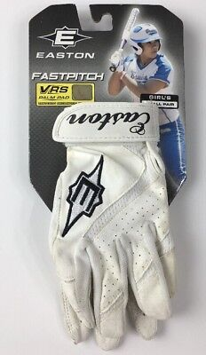 EASTON Fastpitch VRS Palm Pad Batting Gloves Girl's Size Small White Leather NOS