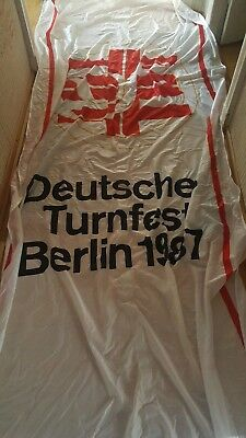 Fahne, Flagge Deutsches Turnfest Berlin 1987, 145 x 400 cm