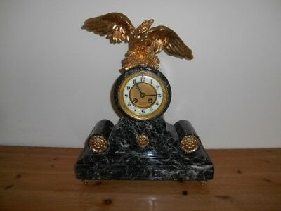 Antique 19thc French 8 day Green Marble Striking clock