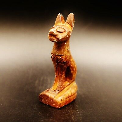 Rare Ancient Egyptian Stone Cat BASTET (Bes) Amulet Figurine, 600 - 300 B.C