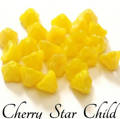 23 x vintage Czech yellow flower beads charms for crafts perfect
