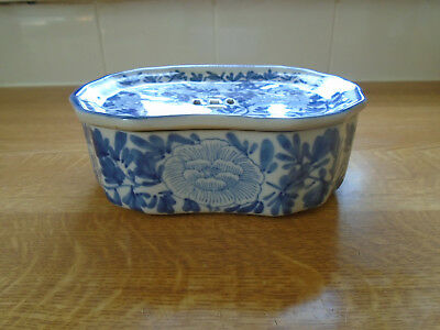 Antique Chinese Blue And White Floral Lidded  Dish